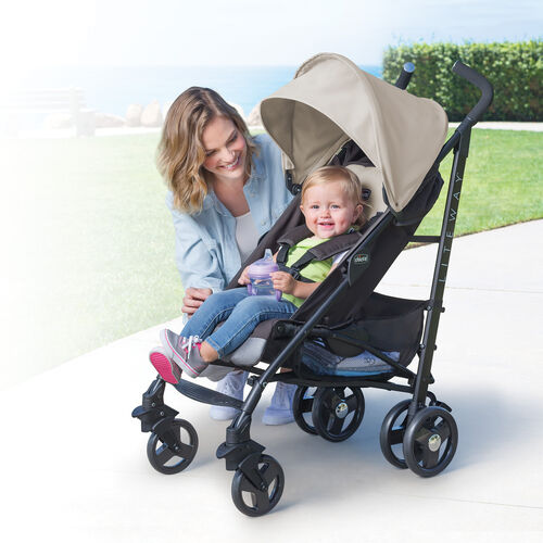 Mother and child smiling with Chicco Liteway Lightweight Stroller