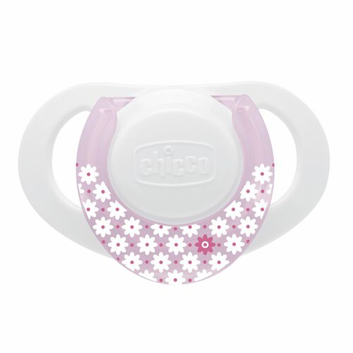 Chicco NaturalFit Deco 0M+ Orthodontic Pacifier - White and light pink with white flower pattern