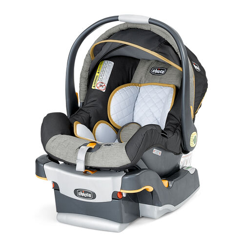 Chicco KeyFit 30 Infant Car Seat - Neutral light gray and dark grey with yellow trim in Sedona fashion