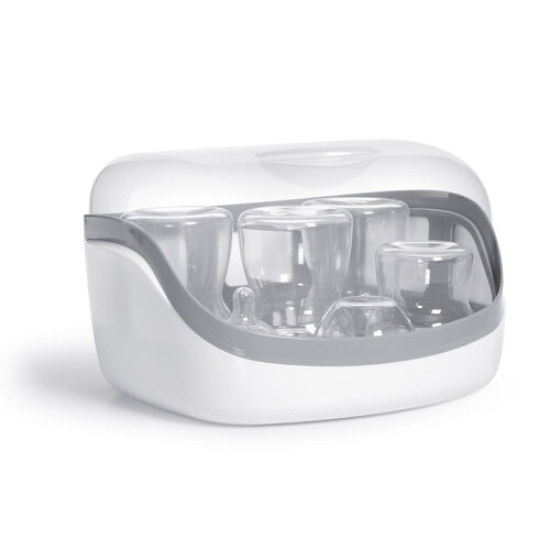 Sterilize baby bottles an accessories in minutes with the Chicco NaturalFit Microwave Steam Sterilizer in Gray