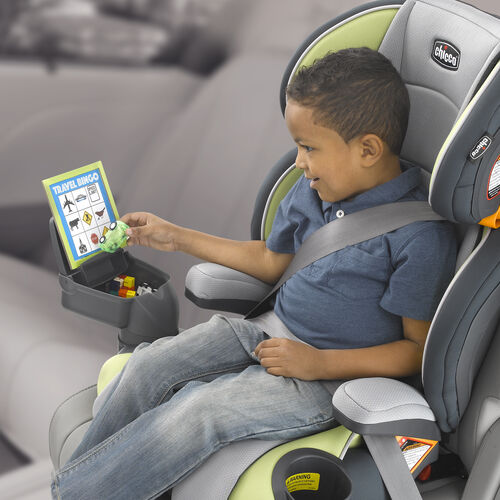Detachable snack console for toys, games, food, or electronics on KidFit Booster Car Seat