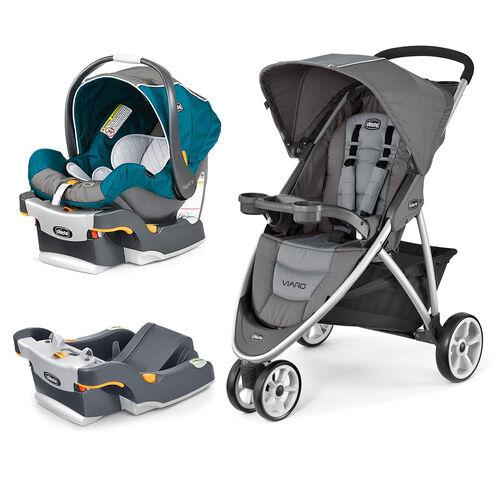 Mix & Match KeyFit 30 Infant Car Seat - Polaris + Viaro Stroller - Graphite Bundle - Free Additional Base in