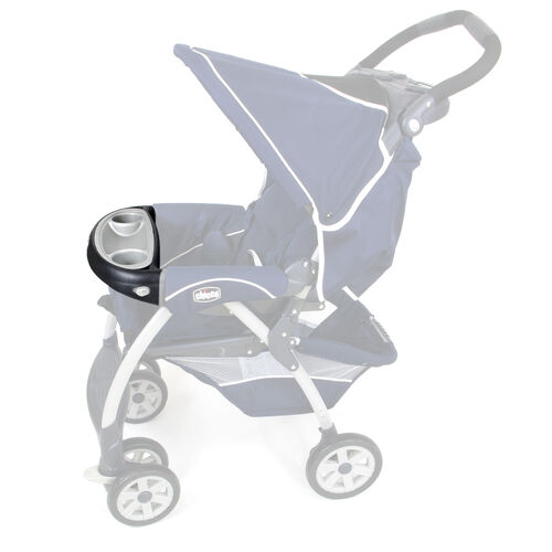 Child's tray installed on the Chicco Cortina Stroller