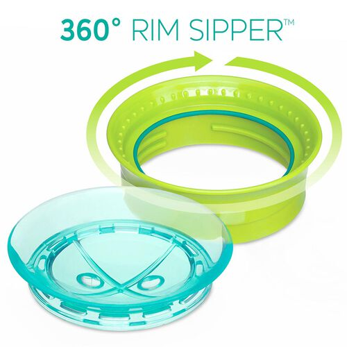NaturalFit 9oz 360° Rim Set of 2 Trainer Cups - Pink/Teal in