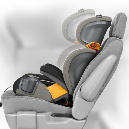Two-position backrest adjusts to mimic vehicle seat position