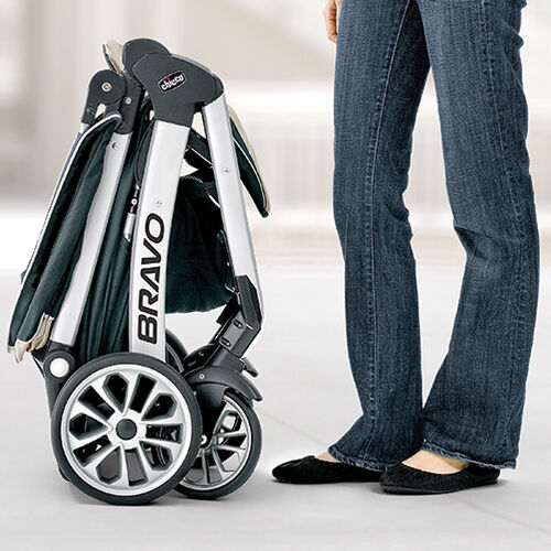 The Bravo Trio Stroller stands on its own when folded for added convenience