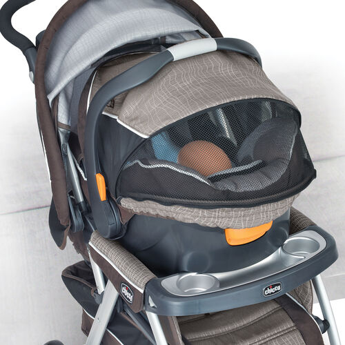 KeyFit 30 Magic infant car seat with closed canopy in Chicco Stroller as part of a travel system
