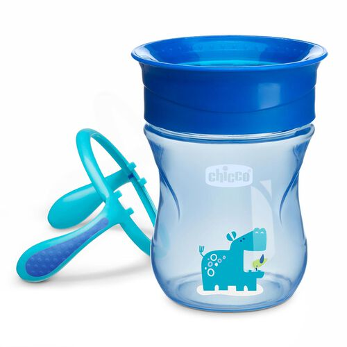 NaturalFit 7oz 360° Rim Trainer Cup w/Handles - Blue in