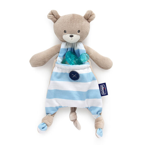 Store baby's pacifier in the cute and soft pacifer holder by Chicco in blue