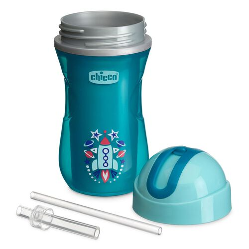 NaturalFit 9oz Insulated Flip-Top Set of 2 Straw Cups - Teal/Blue in