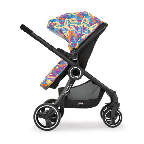 The Urban stroller grows with your baby and easily converts into a toddler stroller rear facing or forward facing