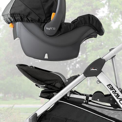 BravoFor2 2-Passenger Standing/Sitting Quick-Fold Stroller - Zinc in