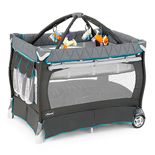Chicco Lullaby Playard in dark and light gray with aqua blue trim - Vapor