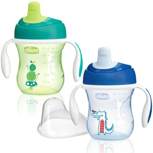 NaturalFit 7oz Semi Soft Spout Set of 2 Trainer Cups - Blue/Green in