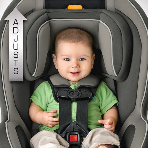 Slide the NextFit convertible car seat down to fit infants and smaller babies in the rear-facing position
