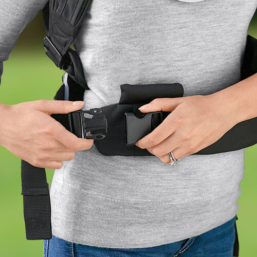 Parents can fit the Close To You Baby Carrier to themselves before attaching the baby carrier