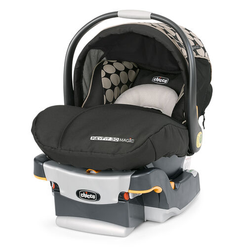 Chicco KeyFit 30 Magic Infant Car Seat and Base - black with beige trim and brown circle pattern accent fabric - Solare Fashion