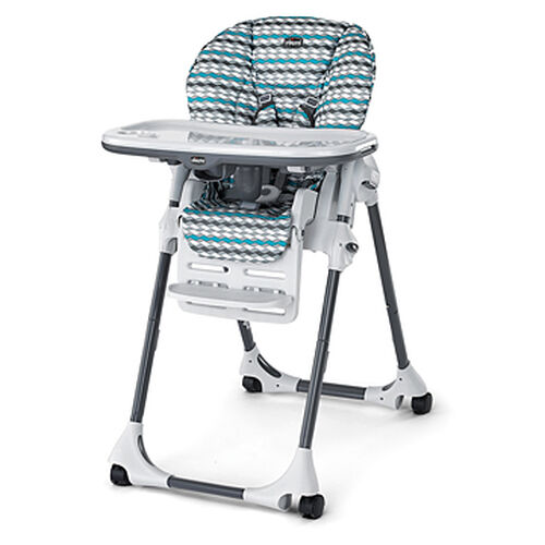 Chicco Polly SE Highchair in patterned striped gray and blue fabric - vapor