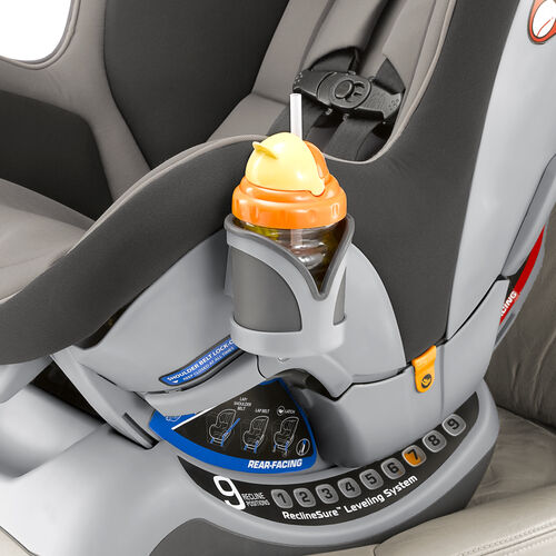 Convenient cup holder for baby's bottle or sippy cup located on the side of the NextFit Convertible Car Seat