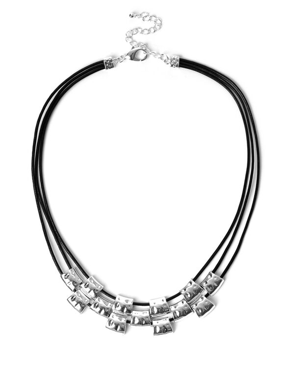Silver Hammered Bead Necklace, Silver/Black, hi-res