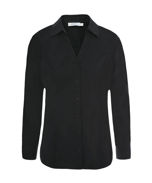 Collared Button Up Shirt, Black, hi-res