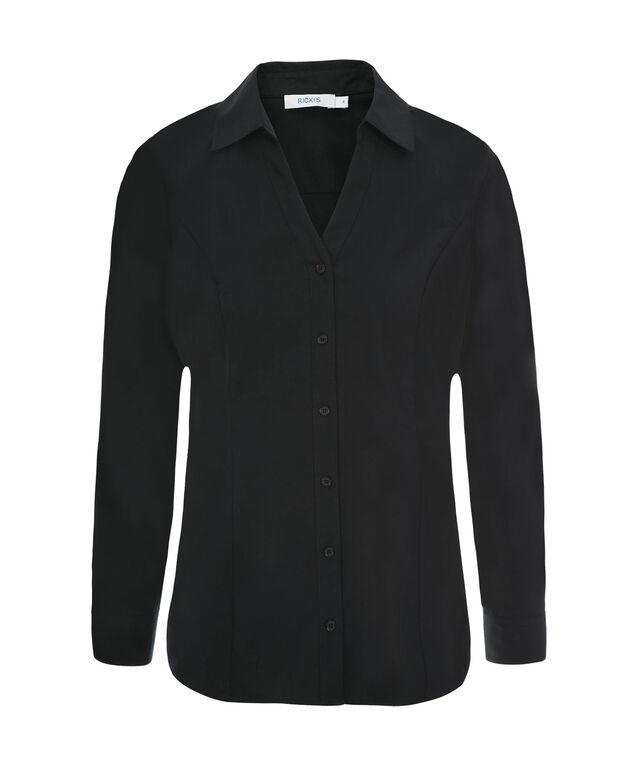 Collared Button Up Shirt, Black, hi-res