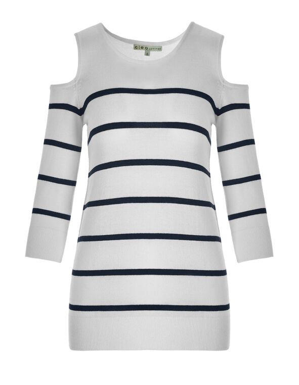 Cold Shoulder Stripe Sweater, White/Navy, hi-res