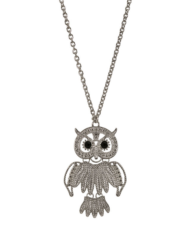 Owl Pendant Necklace, Black/Rhodium, hi-res