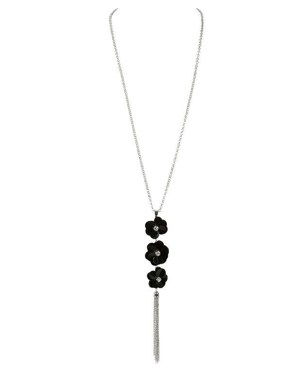 Black Flower Pendant Necklace, Black/Rhodium, hi-res