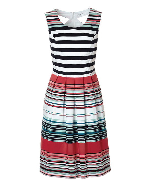 Stripe Cutout Fit and Flare Dress, White/Mint/Black/Coral/Peony, hi-res