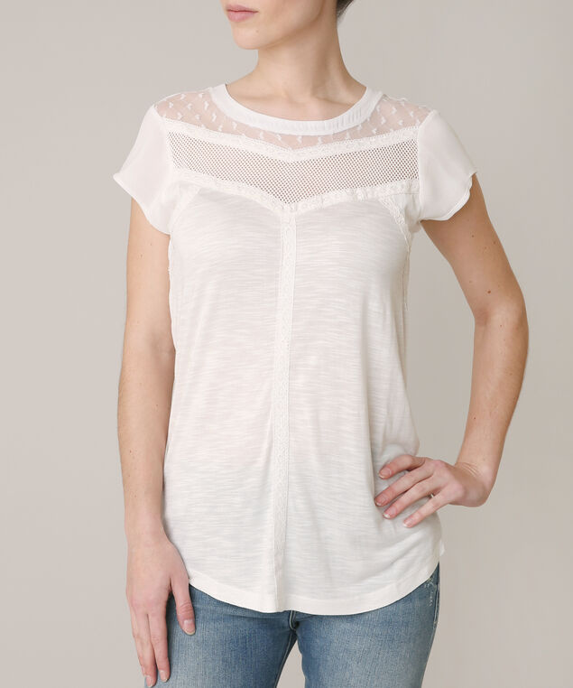 short sleeve tee with mesh and lace yoke, CREAM, hi-res