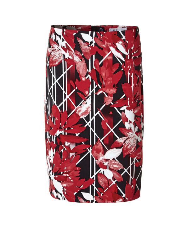 Floral Printed Pencil Skirt, Red/Black/Ivory, hi-res