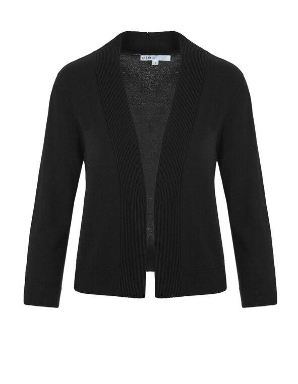 Black Short Cardigan Sweater, Black, hi-res