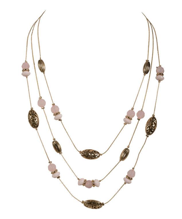 Filigree Metal Necklace, Misty Pink/Antique Gold, hi-res