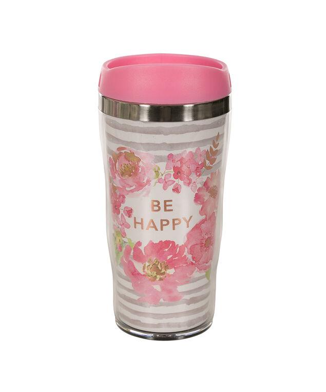 Be Happy Travel Mug, Pink/White, hi-res