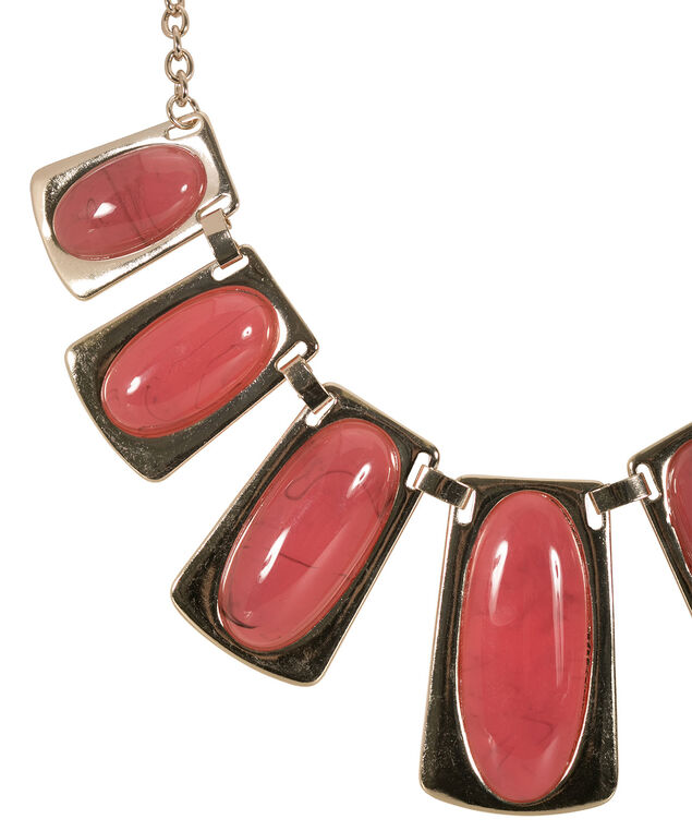 Rectangle Stone Facet Necklace, Burnt Orange/Soft Gold, hi-res