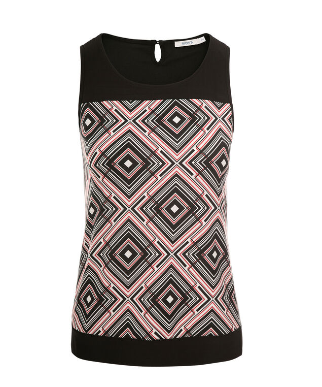 Contrast Yoke Tank, Red Print, hi-res