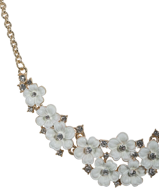 Painted Flower Statement Necklace, White/Soft Gold, hi-res