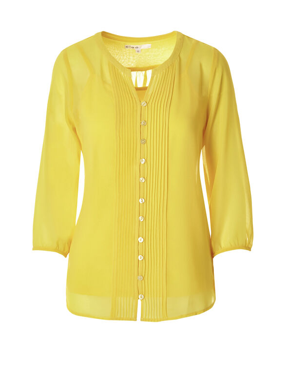 Peasant Popover Blouse, Yellow, hi-res