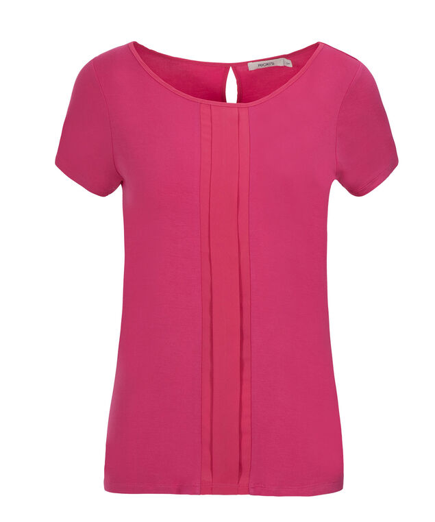 Mix Media Pleat Top, Vibrant Pink, hi-res