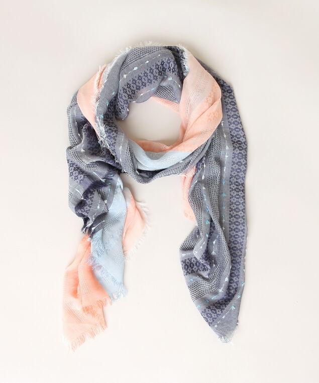 border print scarf, BLUE/PINK, hi-res