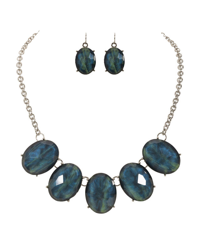 Oval Stone Statement Necklace Set, Navy/Green/Rhodium, hi-res