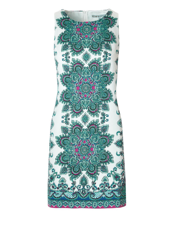 Mosaic Print Sheath Dress, White/Peony/Turquoise/Blue, hi-res
