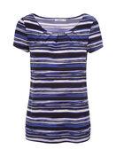 Short Sleeve Pleat Tee, Blue Stripe, hi-res