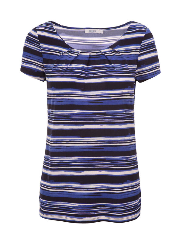 Short Sleeve Pleat Tee, Blue Stripe, hi-res