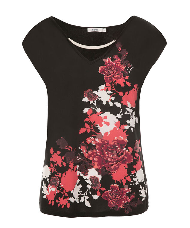 V-Neck Hardware Top, Black/Coral Print, hi-res