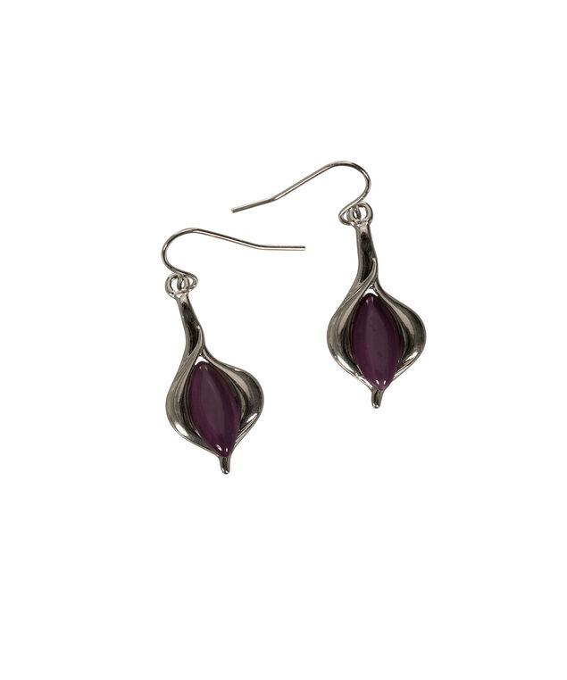 Leaf Cateye Earring, Deep Purple/Rhodium, hi-res