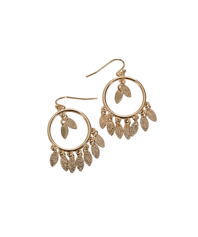Mini Hoop Leaf Earring, Soft Gold, hi-res