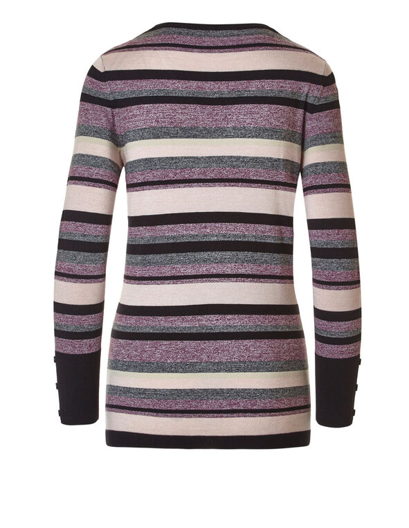 Pink Striped V-Neck Sweater, Pink Stripe, hi-res