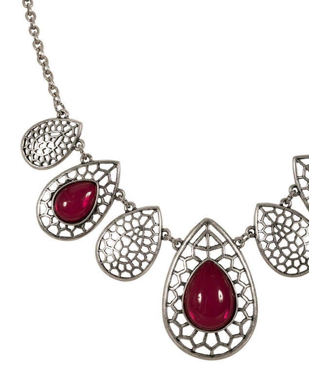 Cutout Teardrop Necklace, Cranberry/Burnished Silver, hi-res